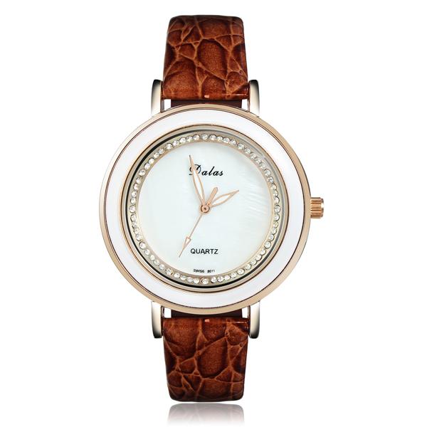 Elegant Crystal Rhinestone Leather Women Wrist Watch Rose Gold Watch