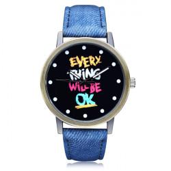 Every Thing OK Blue PU Leather Big Dial Women Wrist Quartz Watch