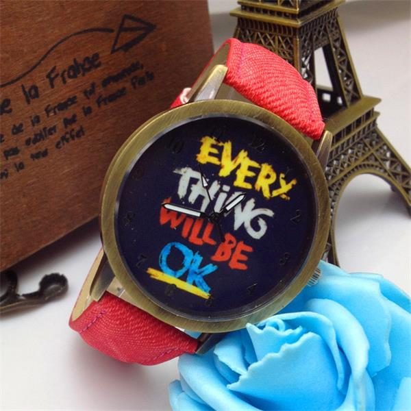 Everything Will Be OK Men Women Fabric band Cartoon Quartz Watch Watch