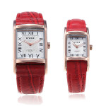 Eyki Rectangle Roman Numerals Lovers Couple Leather Wrist Watch 8116 Watch
