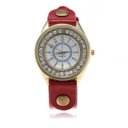 Eyki Rhinestone Diamond Shinning Leather Quartz Wrist Watch