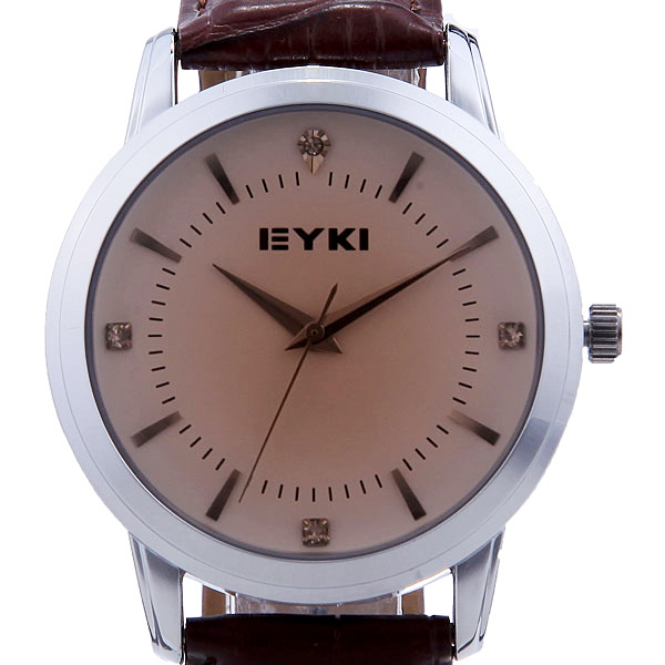 Eyki Round Diamond Lovers Couple Leather Wrist Watch 8599 Watch