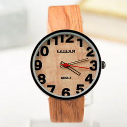 FEIFAN M053-1 Wood Grain PU Band Waterproof Quartz Watch