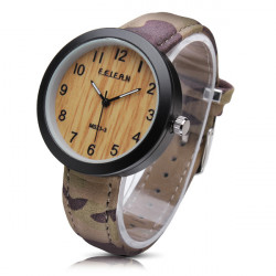 FEIFAN M0Z1-3 Wood Grain Camouflage PU Band Waterproof Watch