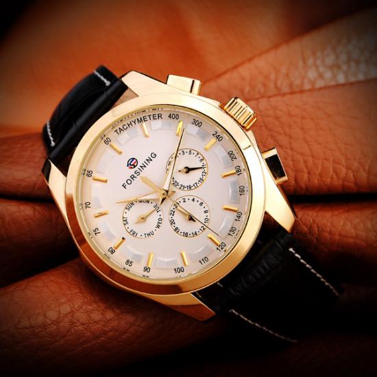 FORSINING 3 Dial Gold Leather Mechanical Flywheel Calendar Men Watch 2021
