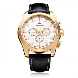 FORSINING 3 Dial Gold Leather Mechanical Flywheel Calendar Men Watch
