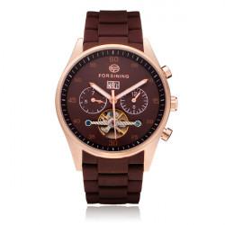 FORSINING 3 Dial Stainless Steel Mechanical Flywheel Men Wrist Watch