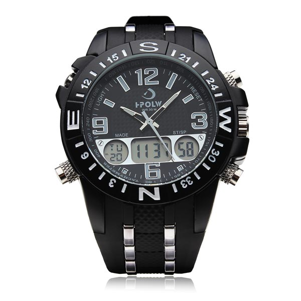 FS810 Hpolw Big Dial Military Black Stainless Steel Men Wrist Watch Watch