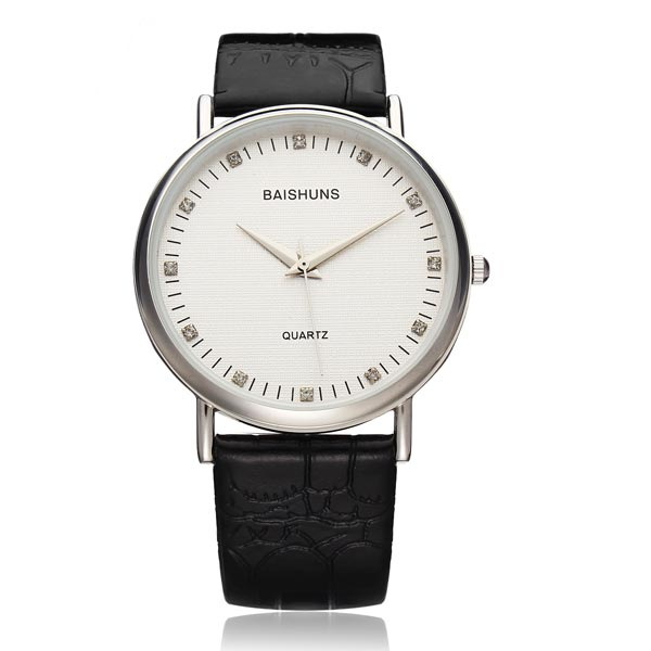 Fashion BAISHUNS Big Dial PU Leather Men Women Wrist Quartz Watch Watch