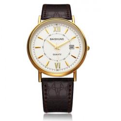 Fashion BAISHUNS White Black Dial PU Leather Men Wrist Quartz Watch