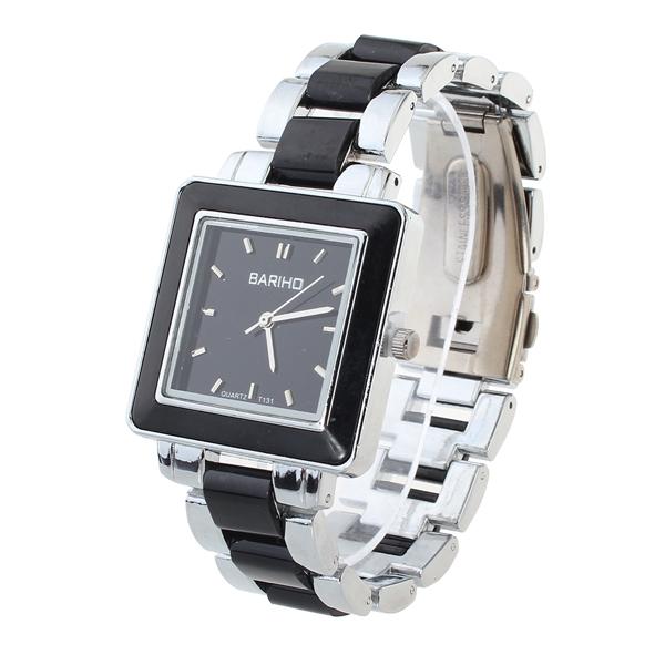Fashion Black Square Couple Men Women Stainless Steel Quartz Watch Watch