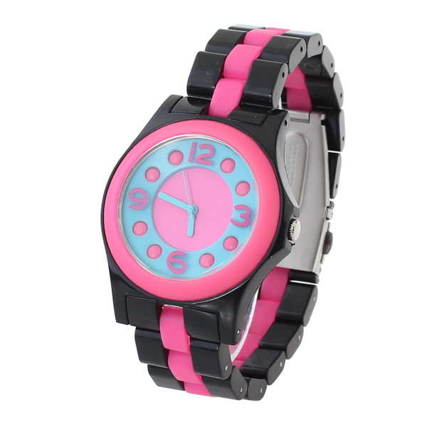 Fashion Black Stainless Steel Dot Number Women Quartz Wrist Watch Watch