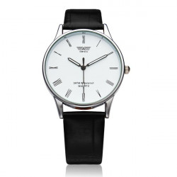 Fashion Black White Leather Men Women Quartz Wrist Watch