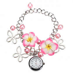 Fashion Butterfly Flower Bead Chain Bracelet Women Quartz Wrist Watch