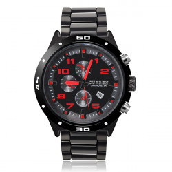 Fashion CURREN Black Waterproof Calendar Men Quartz Wrist Watch