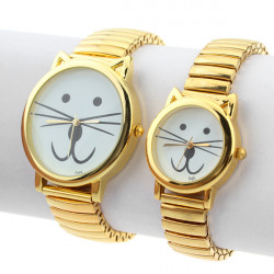 Fashion Cat Ear Stainless Steel Elastic Gold Couple Quartz Watch