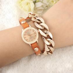 Fashion Chain Rivet Women Bracelet Leather Quartz Watch