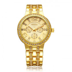 Fashion Crystal 3 Dial Stainless Steel Women Quartz Wrist Watch