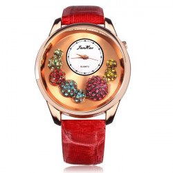 Fashion Crystal Rhinestone Big Dial Leather Women Quartz Wrist Watch