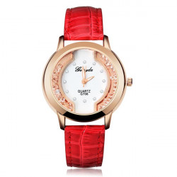 Fashion Crystal Rhinestone Blue Red Round Women Leather Wrist Watch