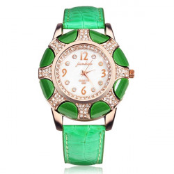 Fashion Crystal Rhinestone Leather Women Quartz Wrist Watch