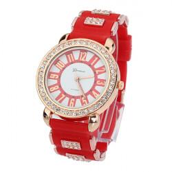 Fashion Elegant Analog Rhinestone Rubber Quartz Women Wrist Watch