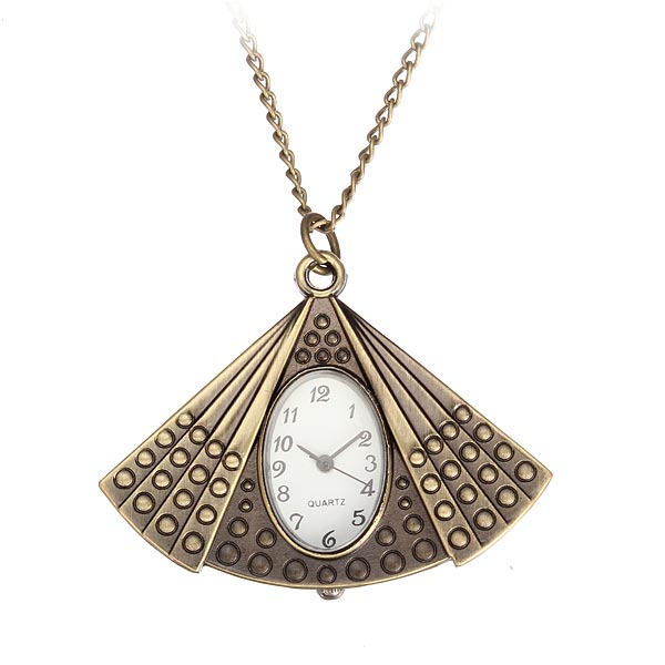 Fashion Fan Bronze Oval Chain Necklace Alloy Women Pocket Watch