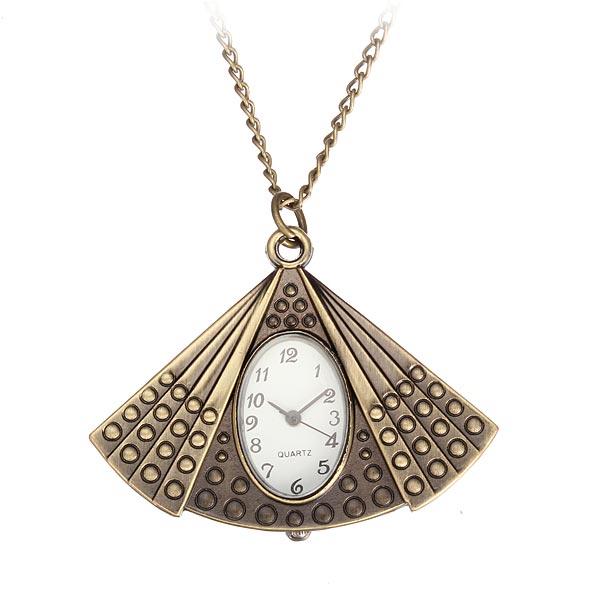 Fashion Fan Bronze Oval Chain Necklace Alloy Women Pocket Watch Watch