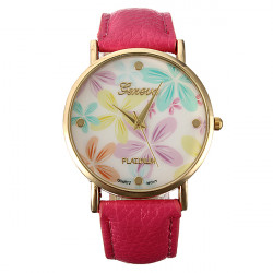 Fashion Faux Leather Rose Flower Watch Women Dress Wrist Watch