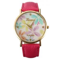 Fashion Faux Leather Rose Flower Watch Women Dress Wrist Watch