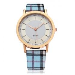 Fashion Grid PU Leather Round Dial Women Quartz Wrist Watch