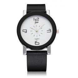 Fashion JW Black White Leather Men Women Quartz Wrist Watch