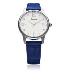 Fashion KIMIO KW523 Silver Crystal PU Leather Women Quartz Wrist Watch