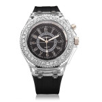 Fashion LED Crystal Rubber Women Quartz Wrist Watch Watch