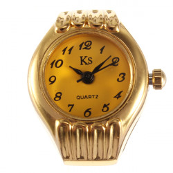 Fashion Ladies Simple Gold Color Round Dial Finger Ring Watch