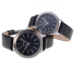 Fashion Leather Band Lovers Couple Wrist Watch Black