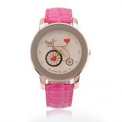 Fashion Leather Bicycle Heart Crystal Women Quartz Wrist Watch