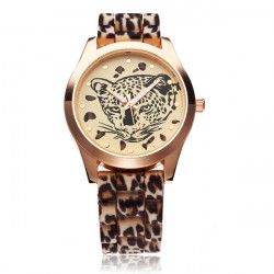 Fashion Leopard Rubber Women Quartz Wrist Watch