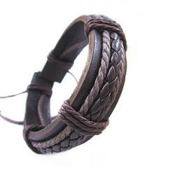 Fashion Men Women DIY Knit PU Leather Bracelet Watch Band