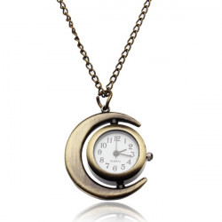 Fashion Moon Bronze Vintage Women Long Chain Quartz Pocket Watch