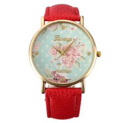 Fashion New Retro Women Girl Tulip Flower Leather Alloy Wrist Watch
