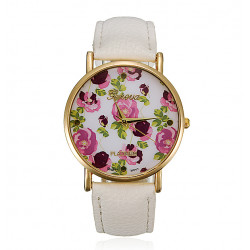 Fashion Retro Women Girl Rose Flower Leather Alloy Wrist Watch