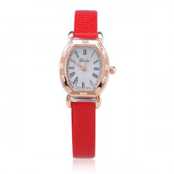 Fashion Roman Red Rose Gold Leather Women Quartz Wrist Watch