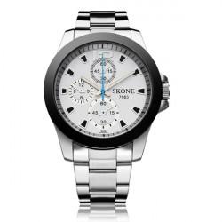 Fashion SKONE 7063 Stainless Steel 3 Dial Men Quartz Wrist Watch