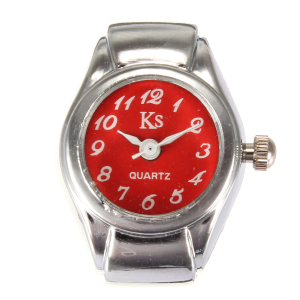 Fashion Simple Alloy Elastic Women Finger Ring Watch 6 Colors Watch