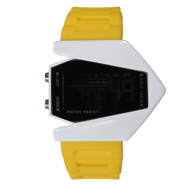 Fashion Sport LED Plane Digital Rubber Men Women Wrist Watch Watch