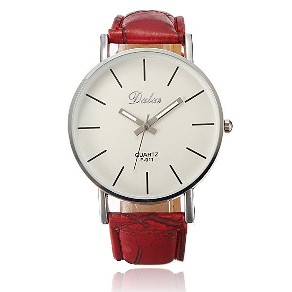 Fashion Sport Unisex Leather Strap Round Dial Adjustable Quartz Watch Watch