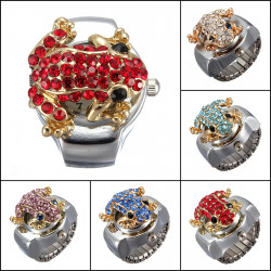 Fashion Steel Frog Rhinestone Crystal Finger Ring Watch