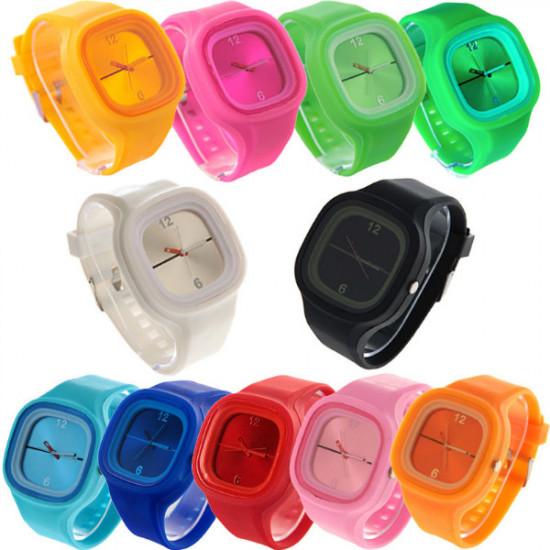 Fashion Unisex Candy Color Jelly Silicone Strap Quartz Wrist Watch 2021