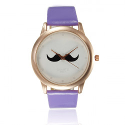 Fashion Unisex Mustache Beard PU Leather Quartz Lovers Wrist Watch